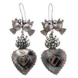 Sterling silver heart earrings, 'Eternal Love'