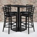 Flash Furniture 24'' x 42'' Rectangular Black Laminate Table Set with 4 Ladder Back Metal Barstools - Black Vinyl Seat