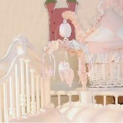 Brandee Danielle Princess Pink Musical MobileFabric in Pink/White, Size 18.0 H x 15.0 W x 15.0 D in | Wayfair 96MBPNK