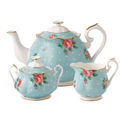 Royal Albert Polka Tea 3 Piece Teapot Set Bone China in Blue, Size 6.9 H x 9.9 W in | Wayfair 652383739260