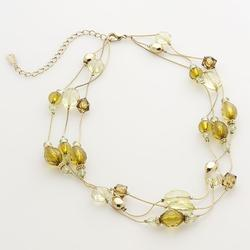 1928 Gold Tone Beaded Multistrand Necklace, Women's, Yellow
