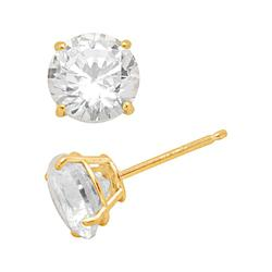 Renaissance Collection 10k Gold 1-ct. T.W.Stud Earrings - Made with Swarovski Zirconia, Women's, Yellow