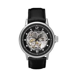 Relic by Fossil Men's Leather Automatic Skeleton Watch, Size: Large, Black