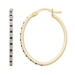 18k Gold-Over-Silver Amethyst and Diamond Accent Oval Hoop Earrings, Women's, Purple