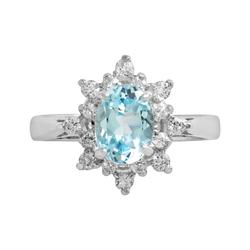 Sterling Silver Blue Topaz & Cubic Zirconia Floral Ring, Women's, Size: 7