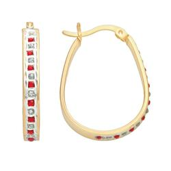 18k Gold-Over-Silver Ruby and Diamond Accent Pear Hoop Earrings, Women's, Red