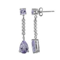 Sterling Silver Amethyst Bead Linear Drop Earrings, Women's, Purple