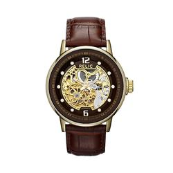 Relic by Fossil Men's Automatic Leather Skeleton Watch, Size: Large, Brown