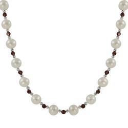 Sterling Silver Freshwater Cultured Pearl and Garnet Bead Necklace, Women's