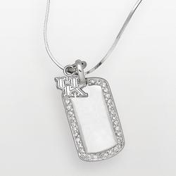 """""""Kentucky Wildcats Sterling Silver Cubic Zirconia Dog Tag Pendant, Women's, Size: 18"""""""", White"""""""