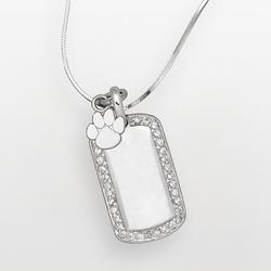 """""""Clemson Tigers Sterling Silver Cubic Zirconia Dog Tag Pendant, Women's, Size: 18"""""""", White"""""""