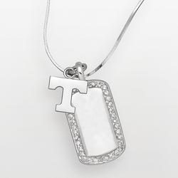 """""""Tennessee Volunteers Sterling Silver Cubic Zirconia Dog Tag Pendant, Women's, Size: 18"""""""", White"""""""