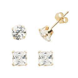Renaissance Collection 10k Gold 2-ct. T.W. Stud Earring Set - Made with Swarovski Cubic Zirconia, Women's, White