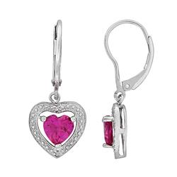Stella Grace Sterling Silver Lab-Created Pink Sapphire and Diamond Accent Heart Drop Earrings, Women's