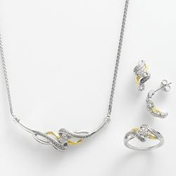 10k Gold Over Silver and Sterling Silver 1/4-ct. T.W. Diamond Twist Necklace, Ring and Drop Earring Set, Women's, White