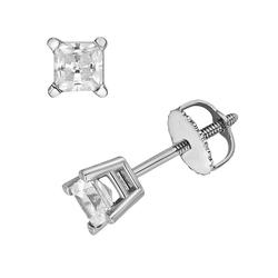 18k White Gold 1/2-ct. T.W. IGL Certified Colorless Princess-Cut Diamond Solitaire Earrings, Women's