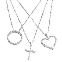 Silver Plated 3/4-ct. T.W. Diamond Heart, Cross and Circle Pendant Set, Women's, White