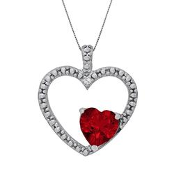 """""""Sterling Silver Lab-Created Ruby and Diamond Accent Heart Pendant, Women's, Size: 18"""""""", Red"""""""