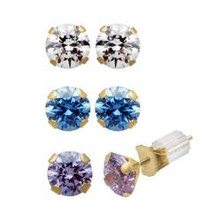 Renaissance Collection 10k Gold 3-ct. T.W. Stud Earring Set - Made with Swarovski Zirconia, Women's, Yellow