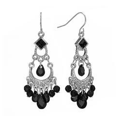 1928 Silver Tone Bead Chandelier Earrings, Women's, Black
