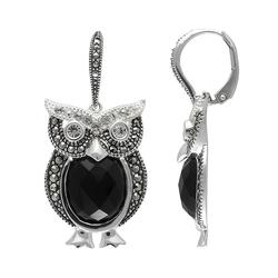 Lavish by TJM Sterling Silver Onyx and Crystal Owl Drop Earrings - Made with Swarovski Marcasite, Women's, Black