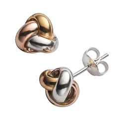 14k Gold Over Silver Tri-Tone Love Knot Stud Earrings, Women's, Yellow