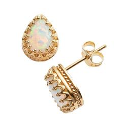 14k Gold Over Silver Lab-Created Opal Crown Stud Earrings, Women's, White