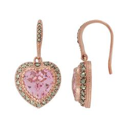 Lavish by TJM 14k Rose Gold Over Silver Pink Cubic Zirconia Heart Drop Earrings - Made with Swarovski Marcasite, Women's