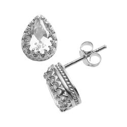 Sterling Silver Lab-Created White Sapphire Crown Stud Earrings, Women's, Blue