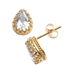14k Gold Over Silver Lab-Created White Sapphire Crown Stud Earrings, Women's