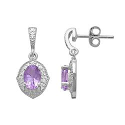 Sterling Silver Amethyst and Diamond Accent Marquise Drop Earrings, Women's, Purple