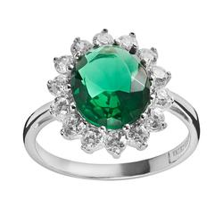 Sophie Miller Sterling Silver Simulated Emerald and Cubic Zirconia Halo Ring, Women's, Size: 5, Green