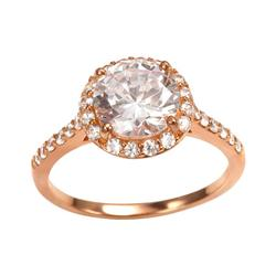 Sophie Miller 14k Rose Gold Over Silver Cubic Zirconia Halo Ring, Women's, Size: 8, White