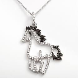 """""""Sophie Miller Sterling Silver Black and White Cubic Zirconia Horse Pendant, Women's, Size: 16"""""""""""""""