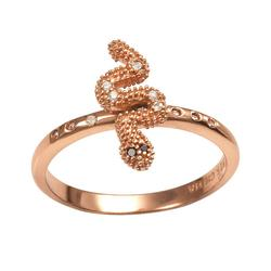 Sophie Miller 14k Rose Gold Over Silver Black and White Cubic Zirconia Snake Ring, Women's, Size: 9