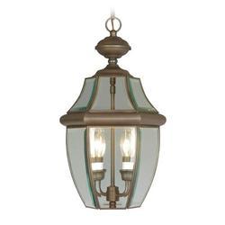 Livex Lighting Monterey 2 Light Outdoor Hanging Lantern Glass/Metal in Brown, Size 19.0 H x 10.5 W x 10.5 D in   Wayfair 2255-07