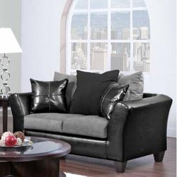 """Chelsea Home Gamma 63"""" Flared Arm Loveseat Polyester/Polyester Blend in Black, Size 33.0 H x 63.0 W x 33.0 D in 