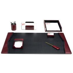Dacasso 7 Piece Desk SetLeather in Red, Size 34.0 W in | Wayfair D7004