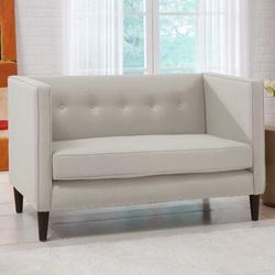 """Skyline Furniture 52"""" Tuxedo Arm Settee Linen/Linen Blend in Green, Size 33.0 H x 52.0 W x 28.0 D in   Wayfair 3306LNNTLC"""
