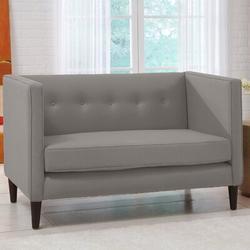 "Skyline Furniture 52"" Tuxedo Arm Settee Linen/Linen Blend in Gray, Size 33.0 H x 52.0 W x 28.0 D in | Wayfair 3306LNNGR"