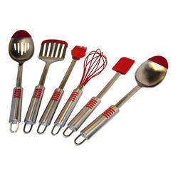 Le Chef 6 Piece S Tip Kitchen Utensil Set Stainless Steel in Gray/Red | Wayfair FA003