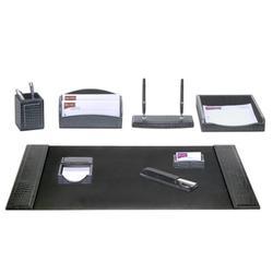 Dacasso Crocodile Embossed 8 Piece Desk SetLeather in Black | Wayfair D2212