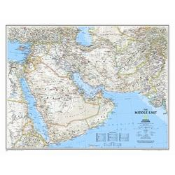 National Geographic Maps Middle East Wall Map in Blue, Size 24.0 H x 30.0 W in | Wayfair RE00620079