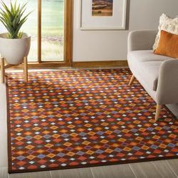Safavieh Metropolis Striped Brown/Orange/Blue Area Rug Nylon in Blue/Brown/Orange, Size 72.0 H x 72.0 W x 0.25 D in | Wayfair MTP529-2591-4