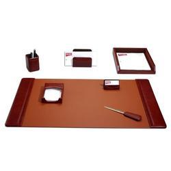 Dacasso 7 Piece Desk SetLeather in Brown   Wayfair D3004