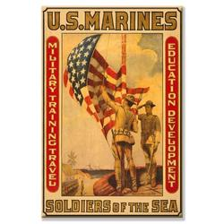 Buyenlarge Soldiers of the Sea Military Training Travel Education Development by Sidney Riesenberg Vintage Advertisement on Wrapped CanvasCanvas