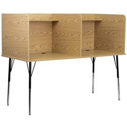 Flash Furniture Manufactured Wood Adjustable Height Study Carrel Wood/Metal in Brown, Size 53.5 H x 70.0 W x 30.0 D in   Wayfair