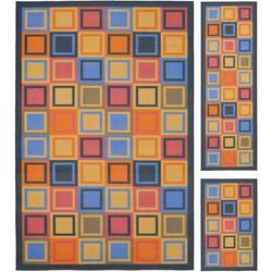 Safavieh Metropolis Geometric Area Rug Nylon in Blue/Orange/Yellow, Size 120.0 H x 96.0 W x 0.25 D in   Wayfair MTP531-6591-4