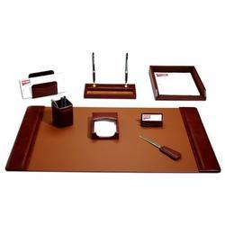 Dacasso 8 Piece Desk SetLeather in Brown, Size 34.0 W in | Wayfair D3012