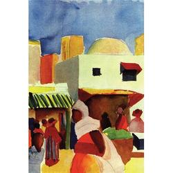 Buyenlarge Market in Algiers byAugust Macke Painting Print on Wrapped CanvasCanvas & Fabric in Blue/Brown/Yellow, Size 30.0 H x 20.0 W x 0.5 D in